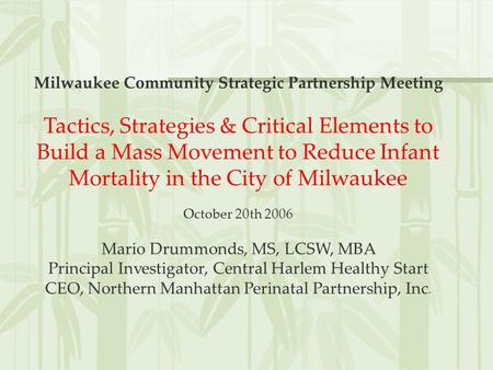 Milwaukee Community Strategic Partnership Meeting Tactics, Strategies & Critical Elements to Build a Mass Movement to Reduce Infant Mortality in the City.
