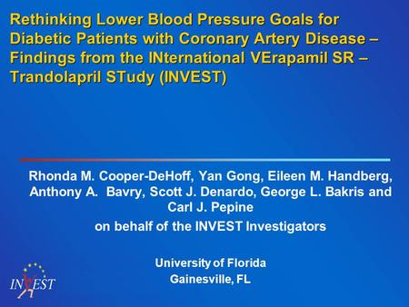 Rethinking Lower Blood Pressure Goals for Diabetic Patients with Coronary Artery Disease – Findings from the INternational VErapamil SR – Trandolapril.