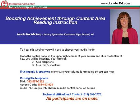 BOOSTING ACHIEVEMENT THROUGH CONTENT AREA READING INSTRUCTION Nicole Hochholzer Literacy Coordinator, Kaukauna High School Consultant, International.