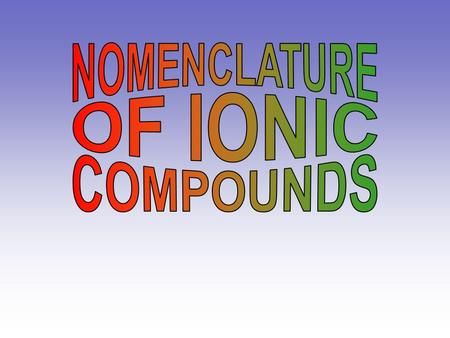 NOMENCLATURE OF IONIC COMPOUNDS.