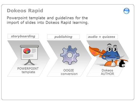 Dokeos Rapid Powerpoint template and guidelines for the import of slides into Dokeos Rapid learning. POWERPOINT template OOGIE conversion Dokeos AUTHOR.