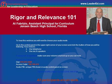 Rigor and Relevance 101 Al Fabrizio, Assistant Principal for Curriculum Jensen Beach High School, Florida To hear this webinar you will need to choose.