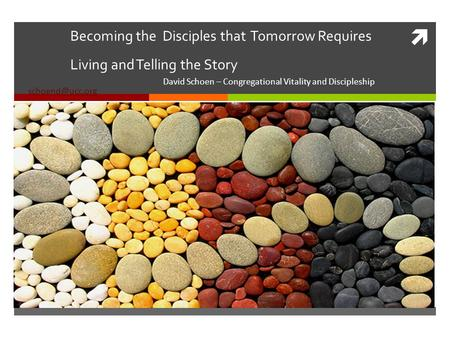 Becoming the Disciples that Tomorrow Requires Living and Telling the Story David Schoen – Congregational Vitality and Discipleship