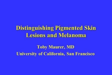 Distinguishing Pigmented Skin Lesions and Melanoma