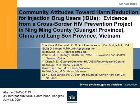 Community Attitudes Toward Harm Reduction for Injection Drug Users (IDUs): Evidence from a Cross-Border HIV Prevention Project in Ning Ming County (Guangxi.
