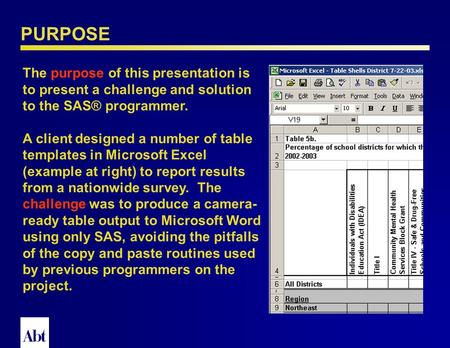 PROC TABULATE and ODS RTF: The Perfect Fit for Complex Tables Prepared by Louise Hadden Lead Programmer Analyst April, 2005 Abt Associates Inc.