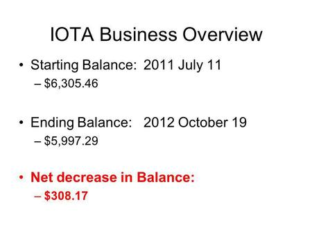 IOTA Business Overview Starting Balance: 2011 July 11 –$6,305.46 Ending Balance: 2012 October 19 –$5,997.29 Net decrease in Balance: –$308.17.