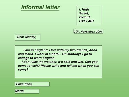 Informal letter I, High Street, Oxford. OX12 4BT Dear Mandy,