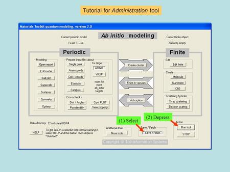 Tutorial for Administration tool (1) Select (2) Depress.