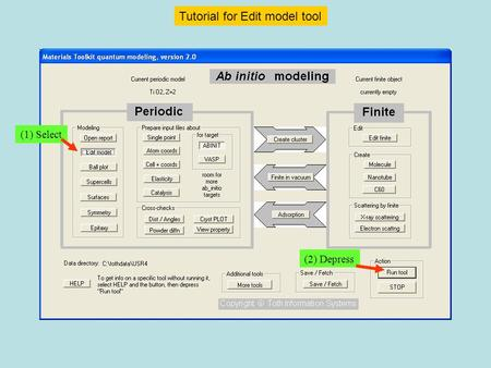 (1) Select (2) Depress Tutorial for Edit model tool.