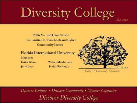 Diversity College Diversity College 2006 Virtual Case Study Committee for Facebook and Cyber Community Issues Florida International University Members.