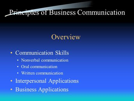 Overview Communication Skills Nonverbal communication Oral communication Written communication Interpersonal Applications Business Applications Principles.