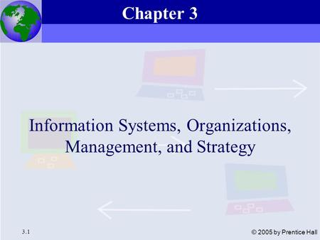 Essentials of Management Information Systems, 6e Chapter 3 Information Systems, Organizations, Management, and Strategy 3.1 © 2005 by Prentice Hall Information.