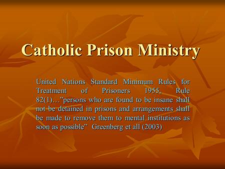Catholic Prison Ministry United Nations Standard Minimum Rules for Treatment of Prisoners 1955, Rule 82(1)…persons who are found to be insane shall not.