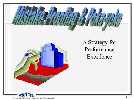 2000, QualityToolBox.com, LLC, all rights reserved 1 A Strategy for Performance Excellence.