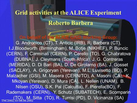 1 CHEP 2000, 10.02.2000Roberto Barbera Grid activities at the ALICE Experiment TNC2002, 03-06.06.2002 On behalf of the ALICE GRID Working Group: G. Andronico.