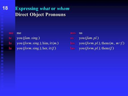 Direct Object Pronouns Expressing what or whom Direct Object Pronouns memenosus teyou (fam. sing.)osyou (fam. pl.) loyou (form. sing.), him, it (m.)losyou.