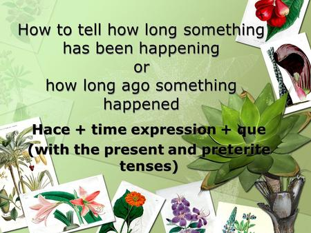 How to tell how long something has been happening or how long ago something happened Hace + time expression + que (with the present and preterite tenses)
