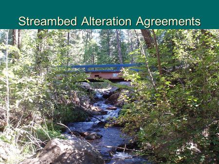 Streambed Alteration Agreements. Notification Required F&GC § 1600  Notification is required for any project that will: –substantially divert or obstruct.