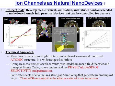 Ion Channels as Natural NanoDevices 1 Project Goals: Develop measurement, simulation, and fabrication tools needed to make ion channels into practical.