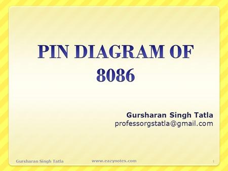 Gursharan Singh Tatla professorgstatla@gmail.com PIN DIAGRAM OF 8086 Gursharan Singh Tatla professorgstatla@gmail.com Gursharan Singh Tatla www.eazynotes.com.