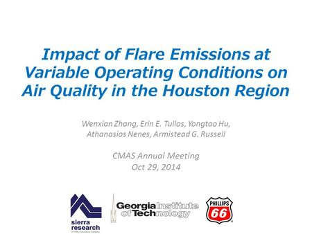 Impact of Flare Emissions at Variable Operating Conditions on Air Quality in the Houston Region Wenxian Zhang, Erin E. Tullos, Yongtao Hu, Athanasios Nenes,