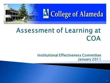 Institutional Effectiveness Committee January 2011 1.