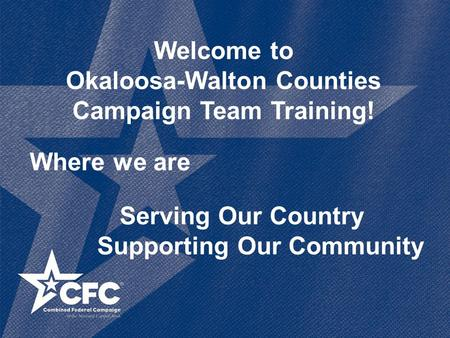 Welcome to Okaloosa-Walton Counties Campaign Team Training! Where we are Serving Our Country Supporting Our Community.