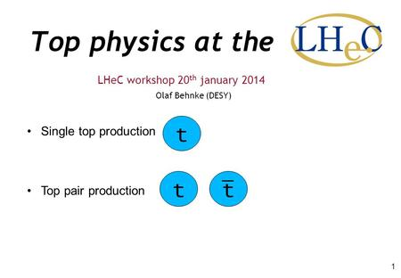 Top physics at the Olaf Behnke (DESY) LHeC workshop 20 th january 2014 1 Single top production Top pair production tt t.