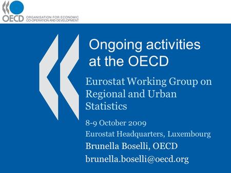Ongoing activities at the OECD Eurostat Working Group on Regional and Urban Statistics 8-9 October 2009 Eurostat Headquarters, Luxembourg Brunella Boselli,