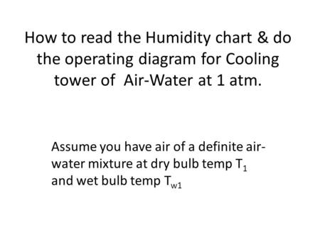 How to read the Humidity chart & do the operating diagram for Cooling tower of Air-Water at 1 atm. Assume you have air of a definite air- water mixture.