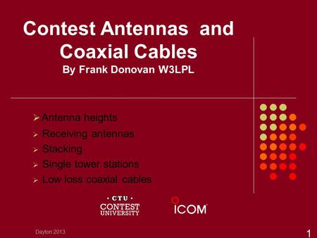 Contest Antennas and Coaxial Cables By Frank Donovan W3LPL