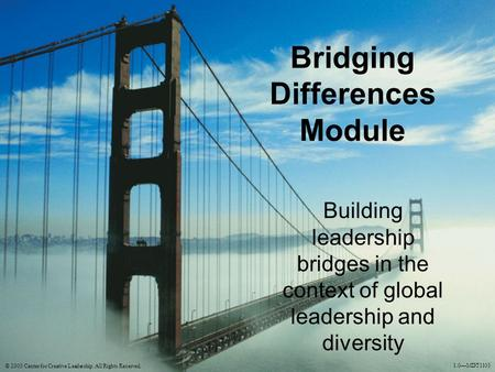 Bridging Differences Module Building leadership bridges in the context of global leadership and diversity © 2003 Center for Creative Leadership. All Rights.