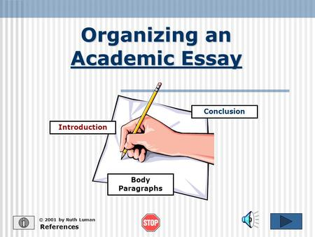 Organizing an Academic Essay References © 2001 by Ruth Luman Introduction Conclusion Body Paragraphs.