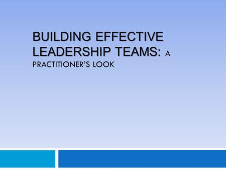 BUILDING EFFECTIVE LEADERSHIP TEAMS: BUILDING EFFECTIVE LEADERSHIP TEAMS: A PRACTITIONER'S LOOK.