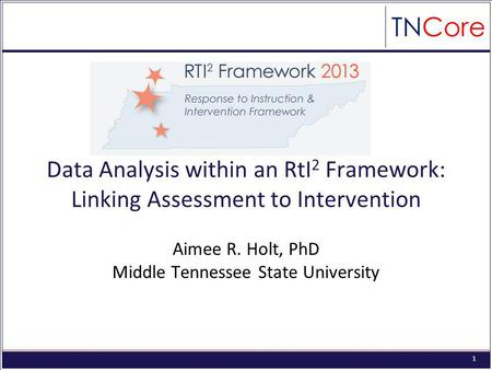 1 Data Analysis within an RtI 2 Framework: Linking Assessment to Intervention Aimee R. Holt, PhD Middle Tennessee State University.