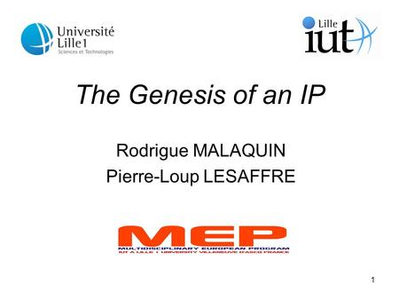 1 The Genesis of an IP Rodrigue MALAQUIN Pierre-Loup LESAFFRE.