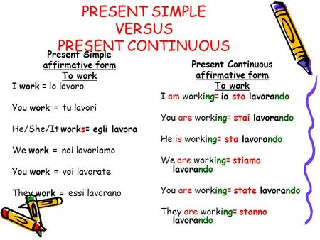 PRESENT SIMPLE VERSUS PRESENT CONTINUOUS Present Simple affirmative form To work I work = io lavoro You work = tu lavori He/She/It works= egli lavora We.
