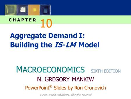 M ACROECONOMICS C H A P T E R © 2007 Worth Publishers, all rights reserved SIXTH EDITION PowerPoint ® Slides by Ron Cronovich N. G REGORY M ANKIW Aggregate.