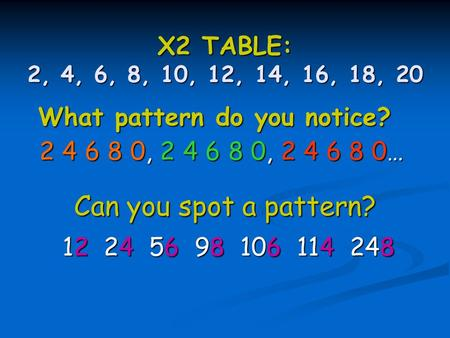 X2 TABLE: 2, 4, 6, 8, 10, 12, 14, 16, 18, 20 2 4 6 8 0, 2 4 6 8 0, 2 4 6 8 0… What pattern do you notice? 12 24 56 98 106 114 248 Can you spot a pattern?