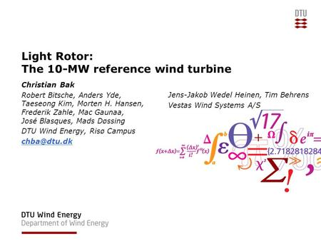 Light Rotor: The 10-MW reference wind turbine