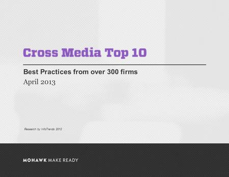 April 2013 | Cross Media Top 10 Best Practices from over 300 firms April 2013 0 Research by InfoTrends 2012.