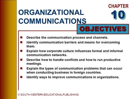 CHAPTER OBJECTIVES © SOUTH-WESTERN EDUCATIONAL PUBLISHING ORGANIZATIONAL COMMUNICATIONS nDescribe the communication process and channels. nIdentify communication.