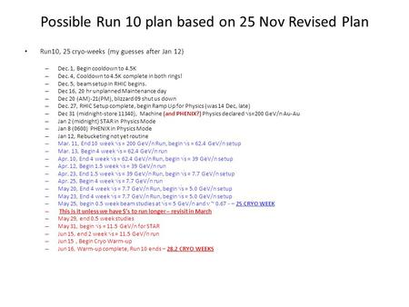 Possible Run 10 plan based on 25 Nov Revised Plan Run10, 25 cryo-weeks (my guesses after Jan 12) – Dec. 1, Begin cooldown to 4.5K – Dec. 4, Cooldown to.