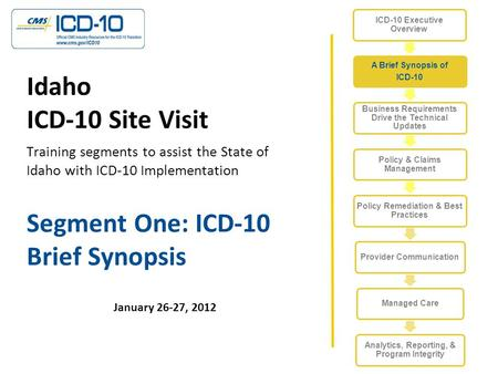 Segment One: ICD-10 Brief Synopsis January 26-27, 2012 Idaho ICD-10 Site Visit Training segments to assist the State of Idaho with ICD-10 Implementation.