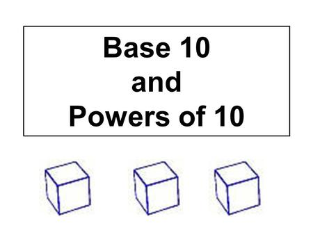 Base 10 and Powers of 10. Explain what you see. Now, what do you think? Ten to the power of zero = 10º = 1 One Unit Cube.