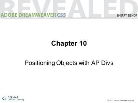 © 2011 Delmar, Cengage Learning Chapter 10 Positioning Objects with AP Divs.