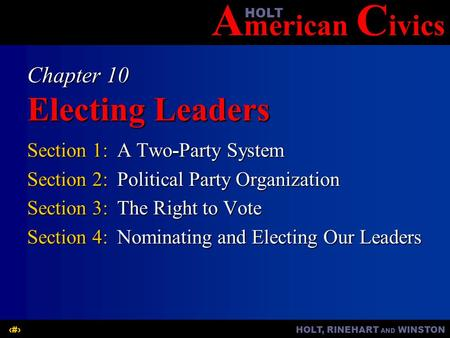 Chapter 10 Electing Leaders