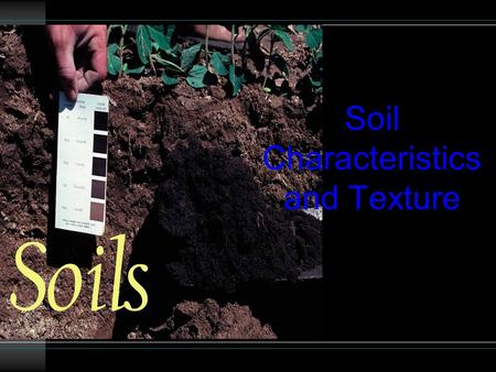 Soil Characteristics and Texture. Soil Characteristics 3 characteristics of soil that affect its VALUE for farming and growing vegetation a re: 1.Organic.