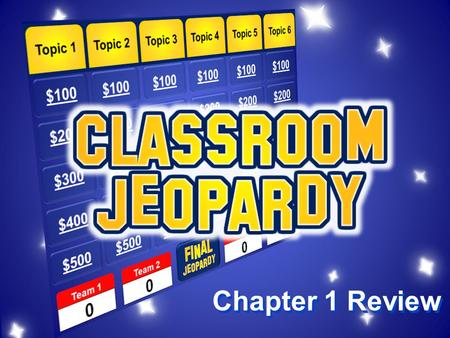 Chapter 1 Review Directions 1.The class will be split into four teams 2.Each team member will get a whiteboard to work out the problem 3.One team member.